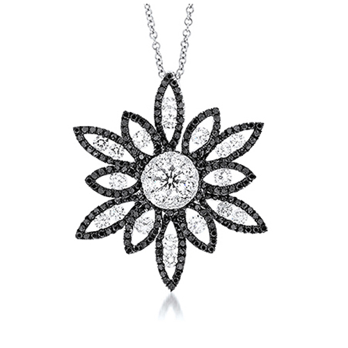 View Black & White Diamond Flower Pendant With Chain