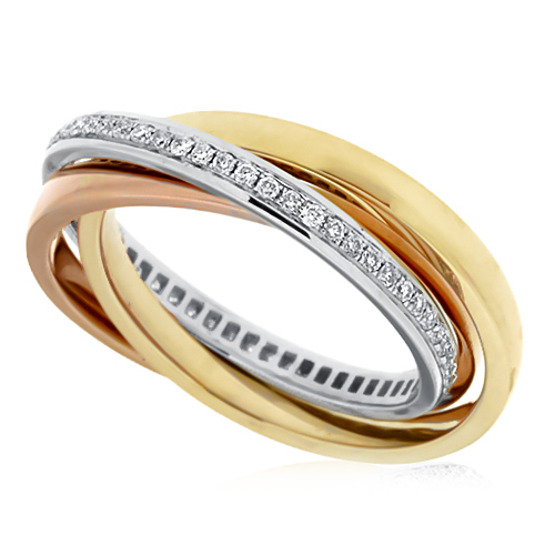 View 3 Rolling Diamond Eternity Band