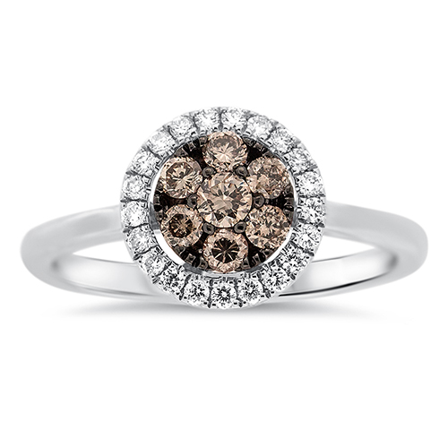 View Brown & White Diamond Cluster Ring