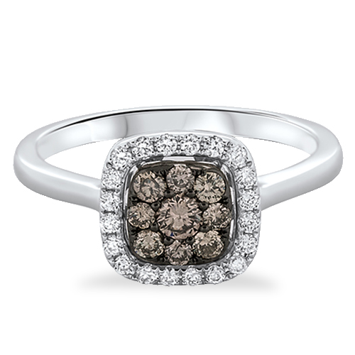 View Brown & White Diamond Cushion Cluster Ring
